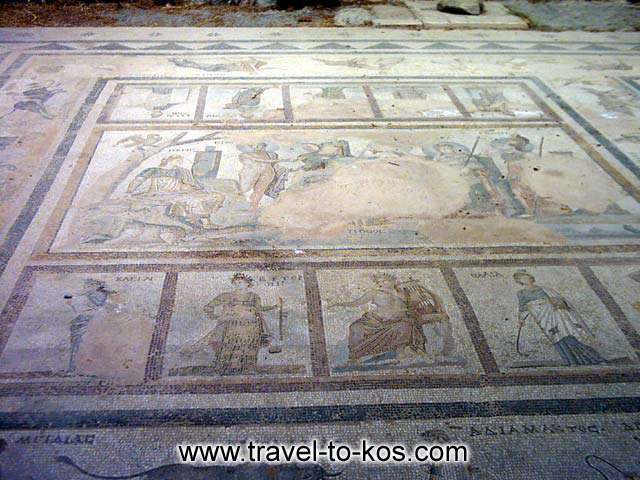 ROMAN HOUSE - Mosaic from the roman house which is at the ancient town of Kos.