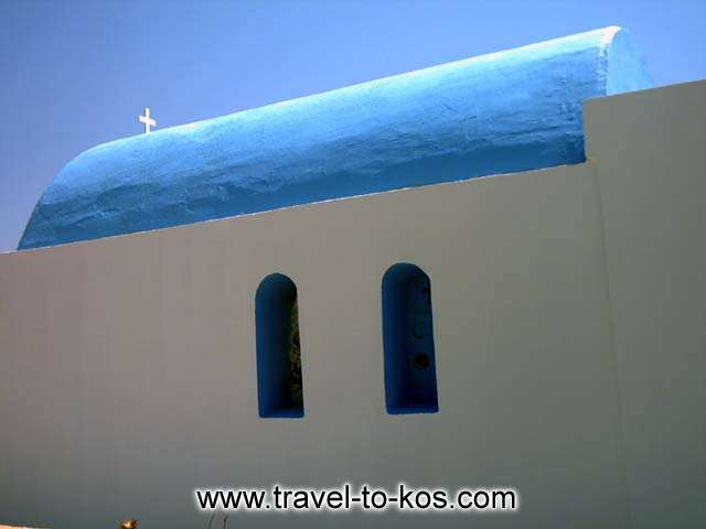SAINT NIKOLAOS - The little church with the traditional architecture of Cyclades islands, is on the way to Kardamena.