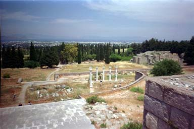 ASKLEPEIO - The Asclepion outside of Kos town. The Asclepion consisted of a religiuos sanctuary to Asclepius, the god of healing, a healing center, and a school of medicine, where the training followed the teachings of Hippocrates up until 554 AD.