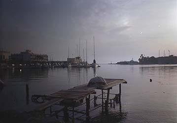 Sunrise at the harbor in Kos town. -