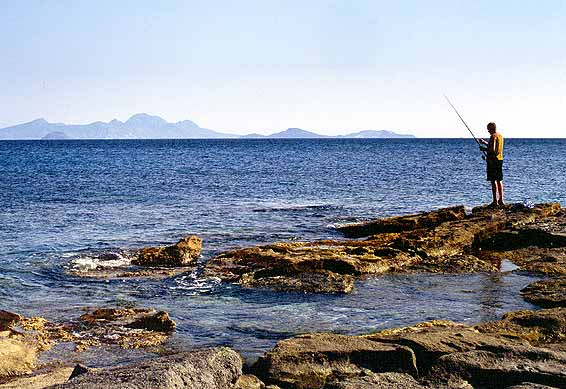 Lonely fisherman - A man fishing from the rocks next to Kardamena beach