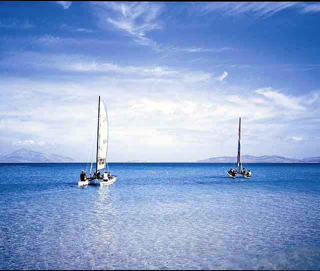 Two sailing boats in Mastichari beach KOS PHOTO GALLERY - CATAMARANS