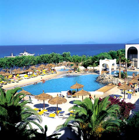 View of the pool and the Aegean Sea of Oceanis Resort Hotel. CLICK TO ENLARGE