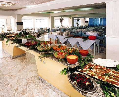Picture of the restaurant of Achilleas hotel in Kos CLICK TO ENLARGE