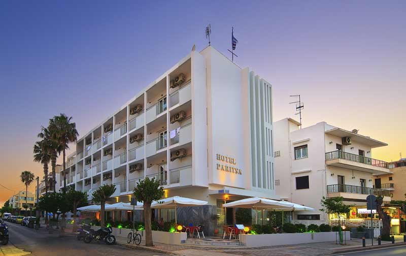 Image of  Hotel Paritsa, situated on Kos Island, Greece. CLICK TO ENLARGE