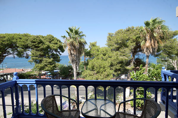 Balcony view, Theodorou Beach Hotel. CLICK TO ENLARGE