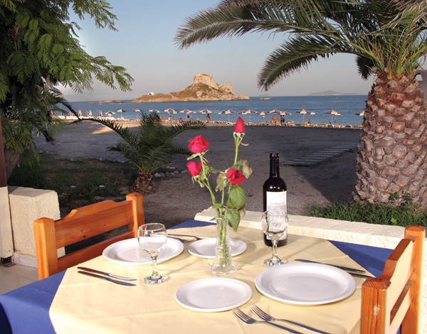 Restaurant on the beach, Kordistos Hotel, Kefalos Kos. CLICK TO ENLARGE